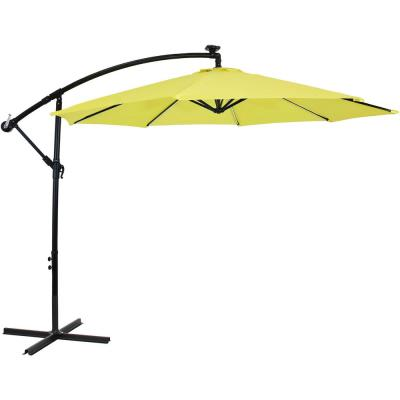 9.6 ft. Offset Cantilever Patio Umbrella with Solar LED Lights in Sunshine