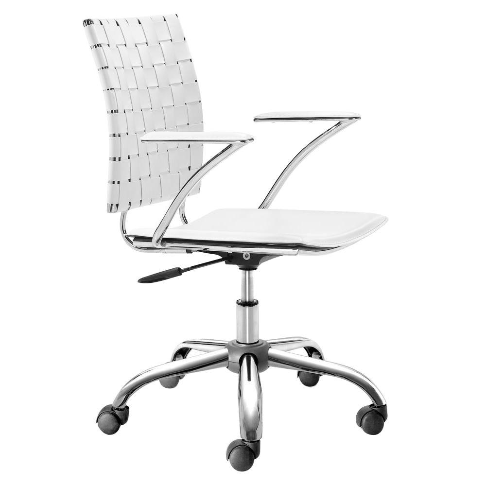 zuo criss cross white office chair 205031 the home depot. Black Bedroom Furniture Sets. Home Design Ideas