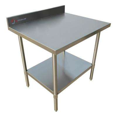 48 in x 24 in x 34 in Stainless Steel Kitchen Utility Table Surface