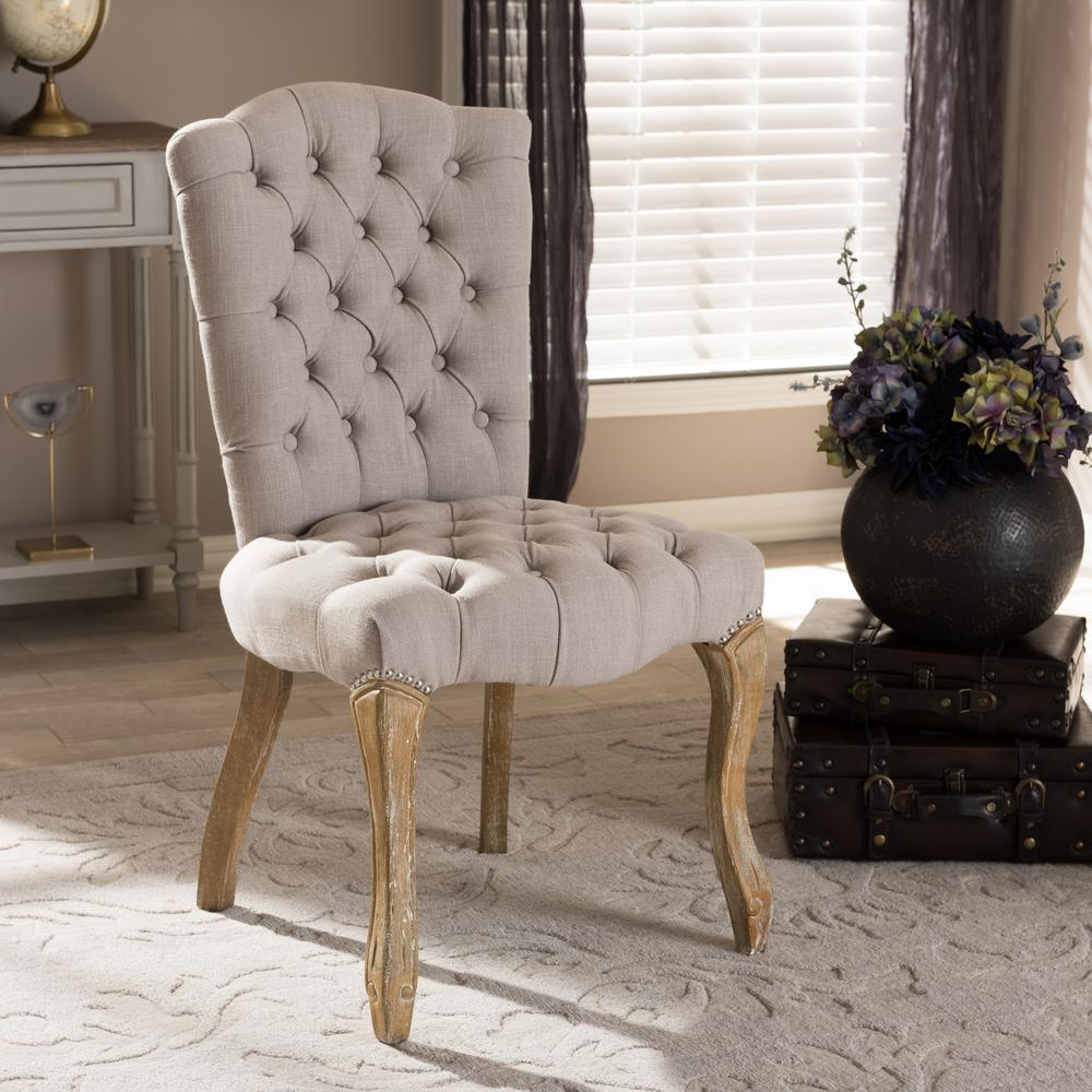 Clemence Beige Fabric Upholstered Dining Chair