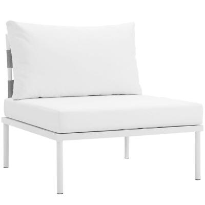 Harmony Armless Aluminum Outdoor Patio Lounge Chair in White with White Cushions