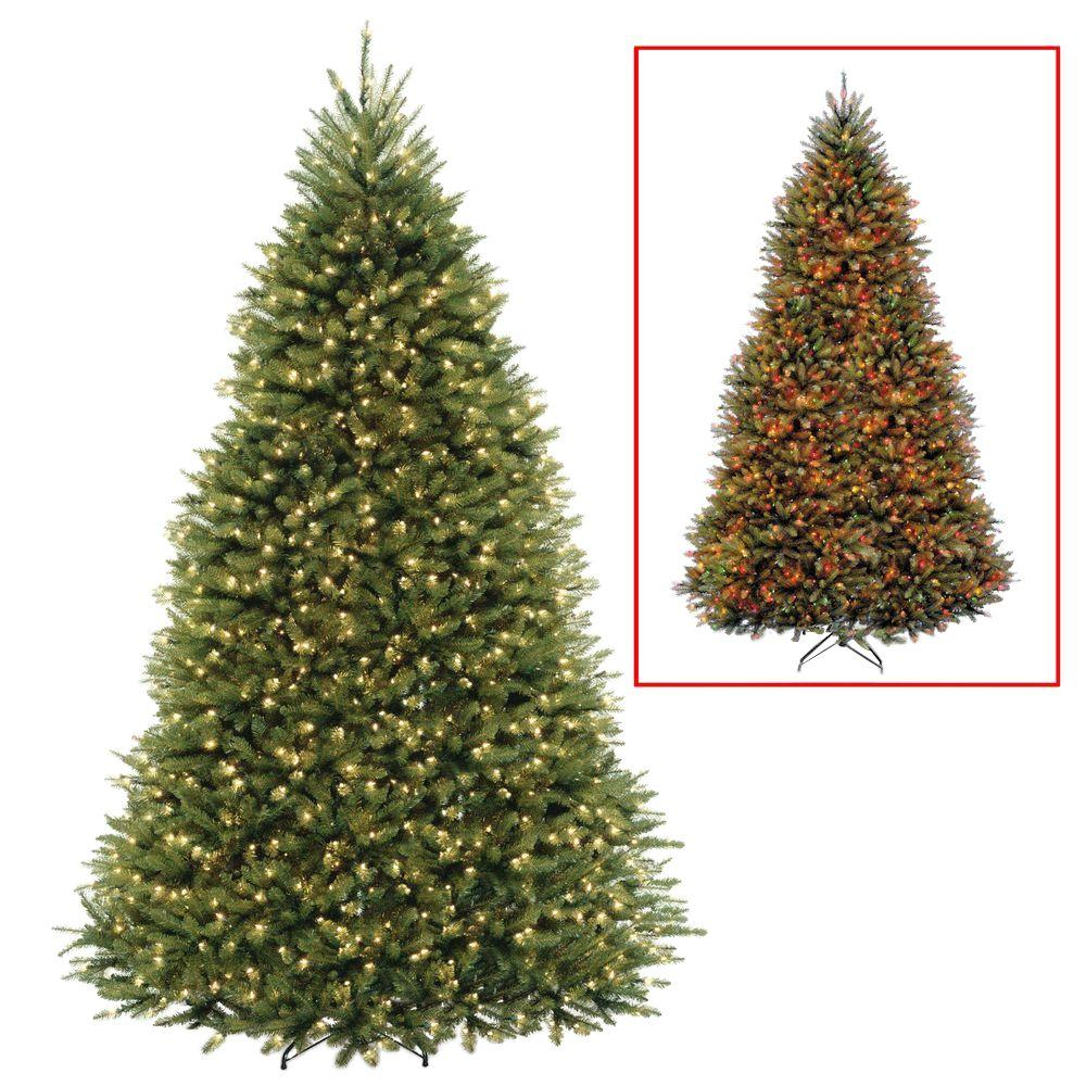 national tree company 9 ft dunhill fir artificial christmas tree with dual color led lights - 9 Pre Lit Christmas Tree