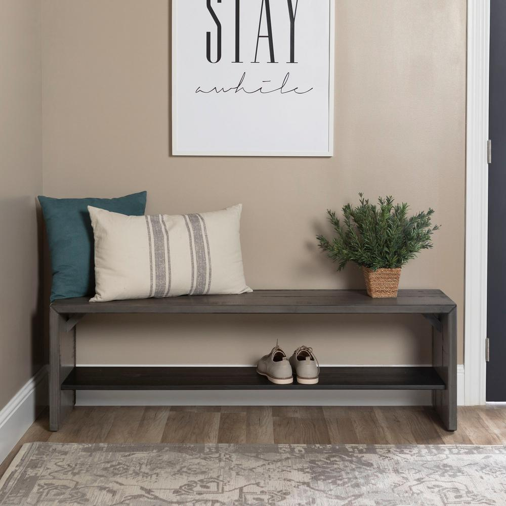 Walker Edison Furniture Company 58 In Modern Farmhouse Wood Entryway Bench Grey Hd58alpgy The Home Depot