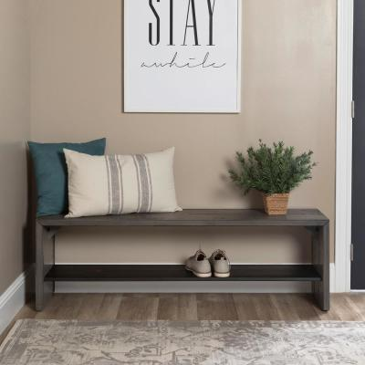 58 in. Modern Farmhouse Wood Entryway Bench - Grey