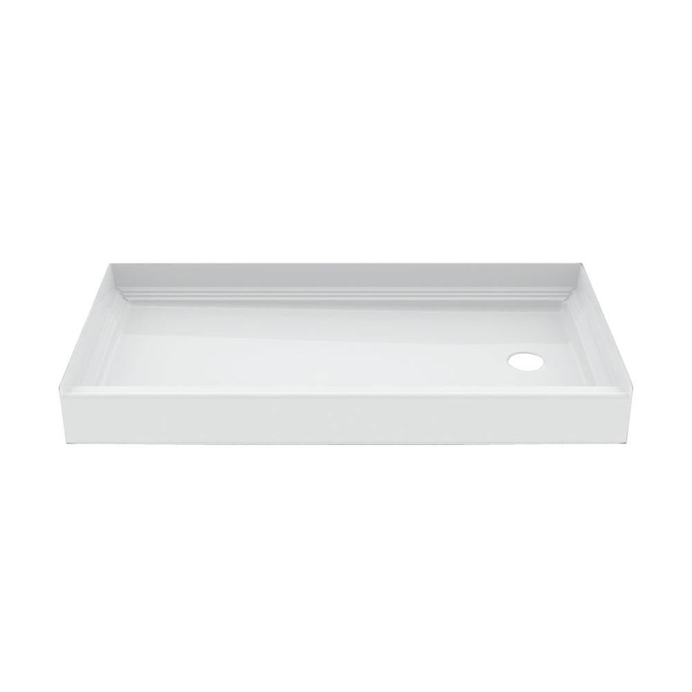 Aquatic a2 60 in x 30 in single threshold right drain shower pan in white nspan6030r aw the - 30 x 60 shower pan ...