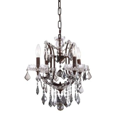 Elena 4-Light Rustic Intent Royal Cut Silver Shade Grey Pendant