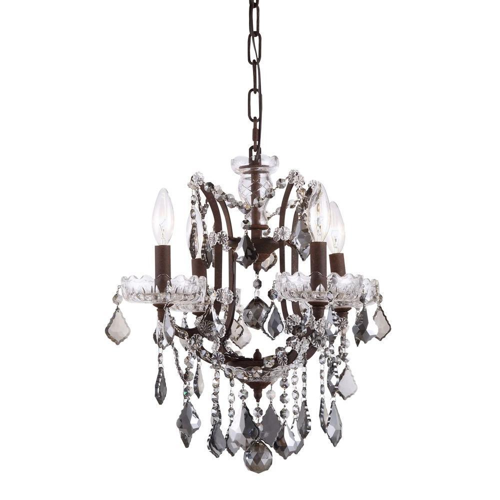 Elena 4-Light Rustic Intent Royal Cut Silver Shade Grey Pendant
