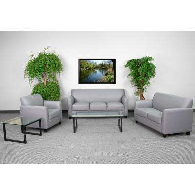 Classic - Faux Leather - Gray - Living Room Sets - Living Room ...