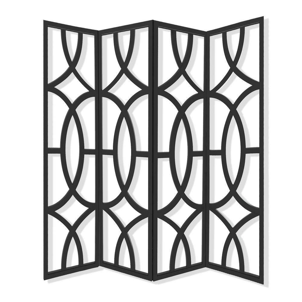 Screen Gems Savoy 7 ft Black 4 Panel Room Divider SG 281 The Home