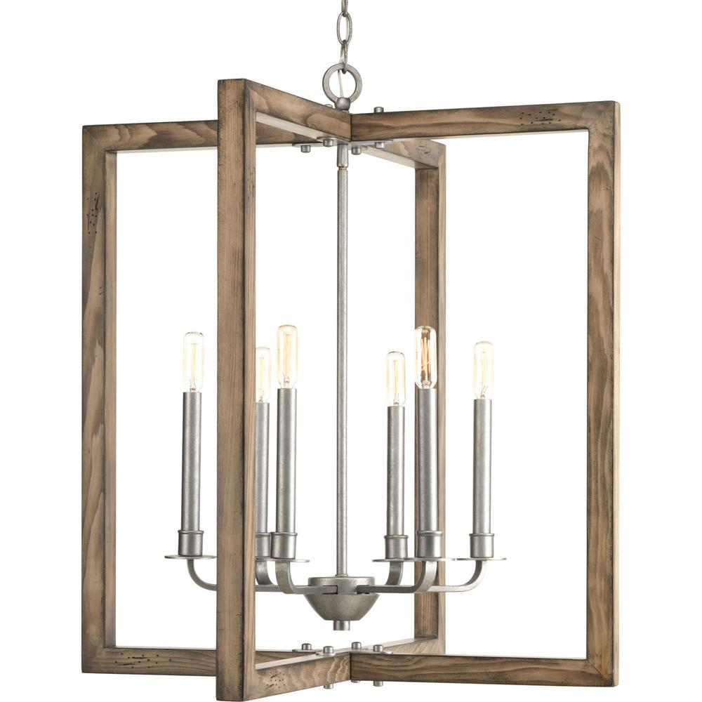 Progress Lighting Turnbury Collection 6 Light Gray Galvanized Chandelier