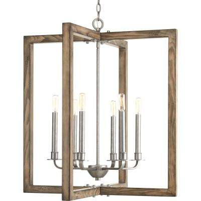 Turnbury Collection 6-Light Gray Galvanized Chandelier