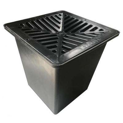 Easy Drain Series Black 10 in. x 10 in. Drainage Pit and Catch Basin for Modular Trench and Channel Drain Systems