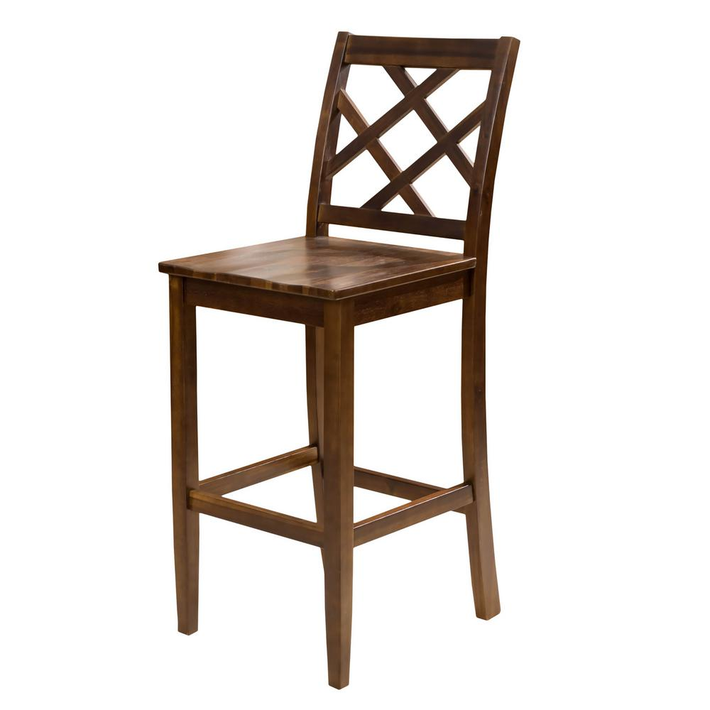 Noble House Harmon 26.18 In. Brown Acacia Counter Chair