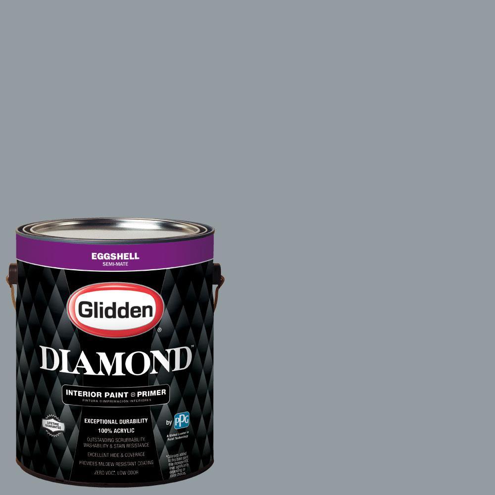 Glidden Diamond 1 gal. #nfl-176E New England Patriots Light Silver Eggshell Interior Paint with Primer, Metallics