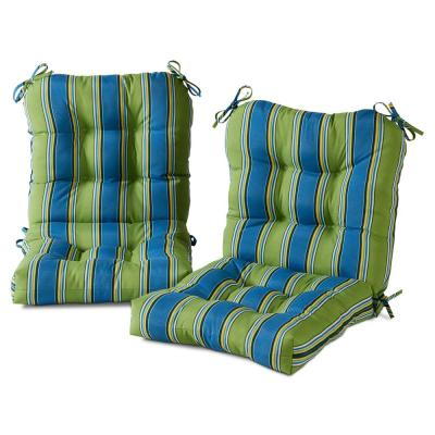 21 in. x 42 in. Outdoor Dining Chair Cushion in Cayman Stripe (2-Pack)