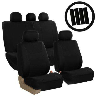 Light and Breezy Fabric 21 in. x 21 in. x 1 in. Full Set Seat Covers with Steering Wheel Cover and 4-Seat Belt Pads