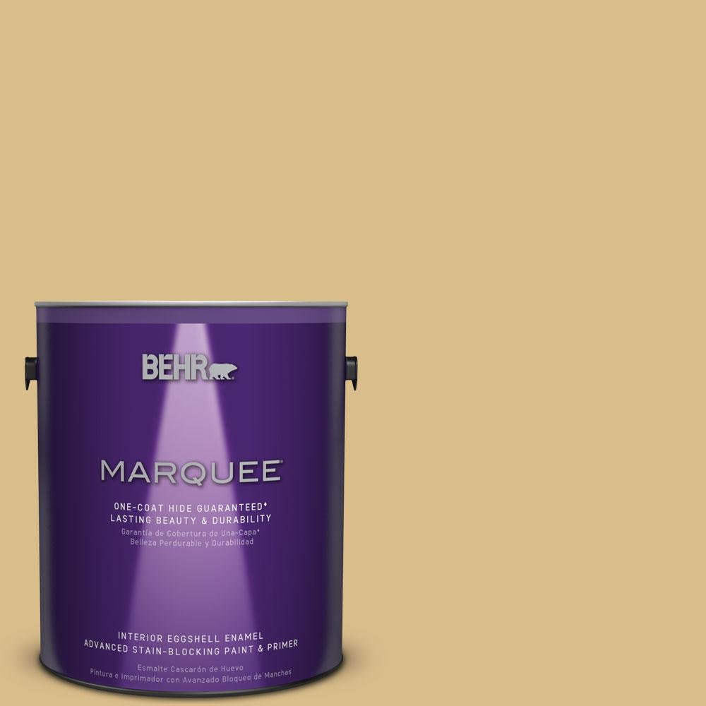 1 gal. #MQ2-18 Honey Tea Eggshell Enamel One-Coat Hide Interior Paint