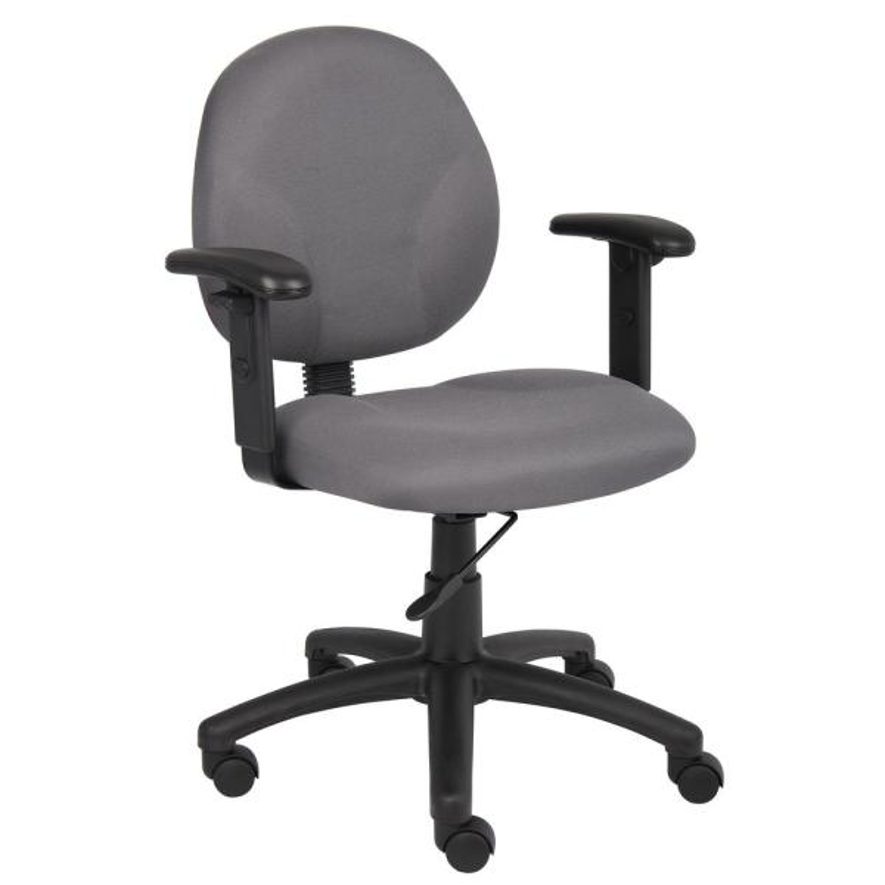 Boss Diamond Grey Task Chair with Adjustable Arms B9091-GY