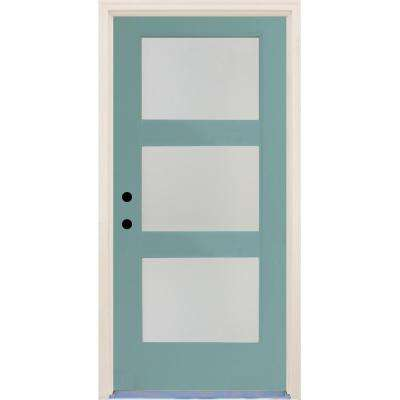 36 in.x80 in.Elite Surf Etch Glass Contemporary RightHand 3Lite Satin Painted Fiberglass Prehung FrontDoor w/ Brickmould