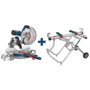 Bosch 15 Amp Corded 12 inch Dual-Bevel Glide Miter Saw Kit with Bonus Gravity Rise Wheeled Miter Saw Stand by Bosch