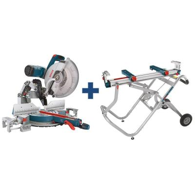 15 Amp 12 in. Corded Dual-Bevel Sliding Glide Miter Saw Combo Kit with Bonus Gravity Rise Wheeled Miter Saw Stand