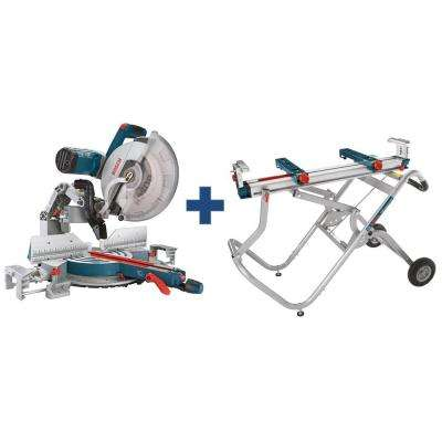 15 Amp Corded 12 in. Dual-Bevel Glide Miter Saw Kit with Bonus Gravity Rise Wheeled Miter Saw Stand