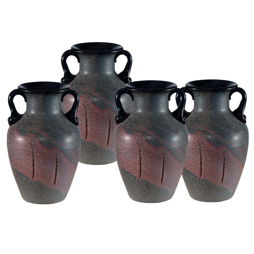 Myria 6 in. 4-Piece Black Hand Blown Art Glass Vase Set