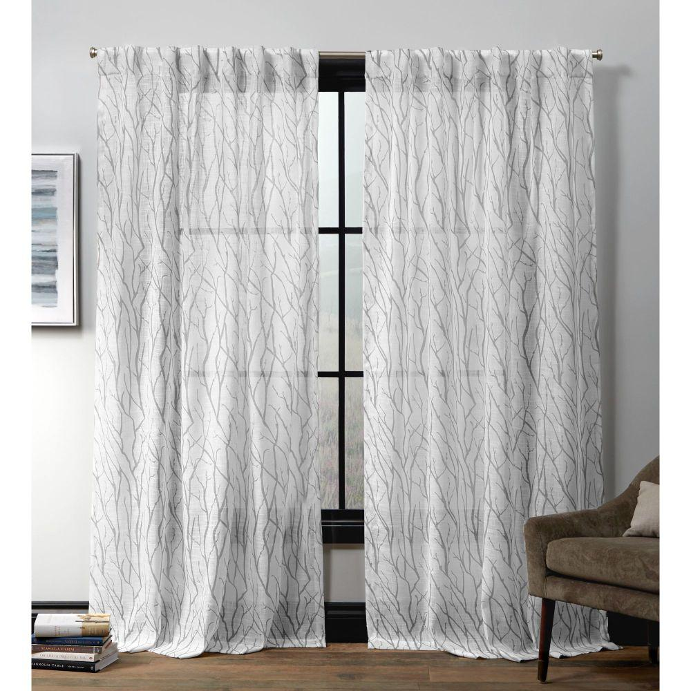 Exclusive Home Curtains Oakdale Ht Silver Sheer Hidden Tab Top Curtain Panel 54 In W X 84 L 2