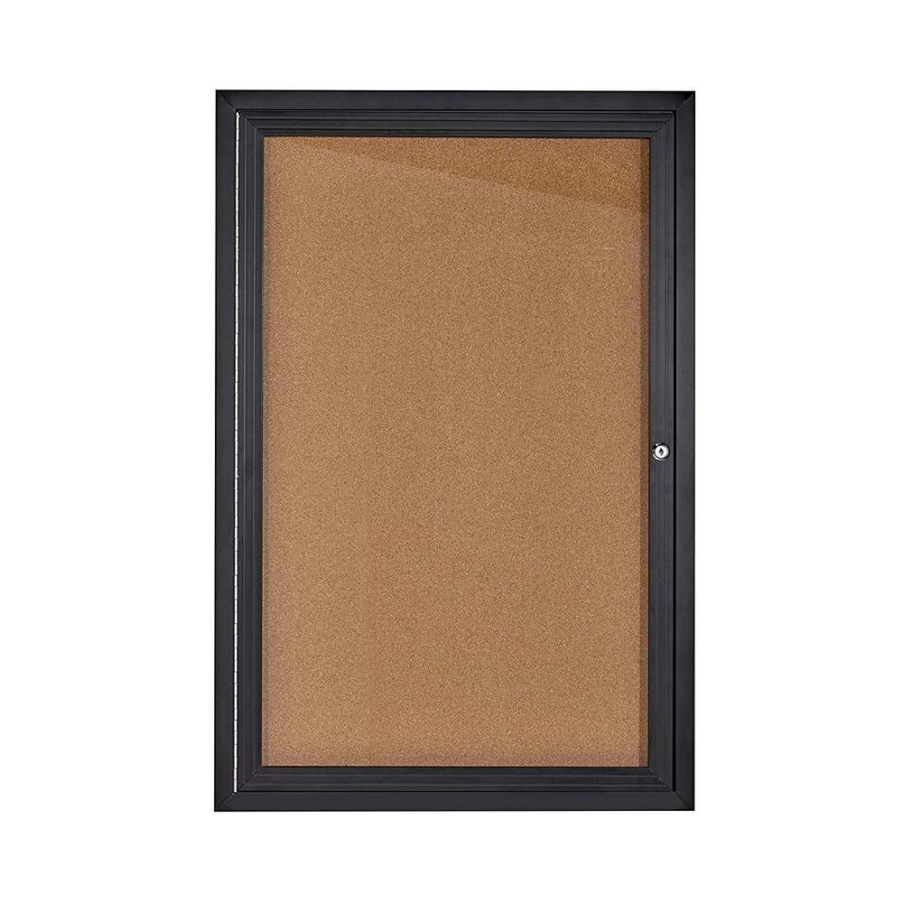AdirOffice AdirOffice 24 in. x 36 in. Black Lockable Enclosed Cork Board Bulletin Memo Board