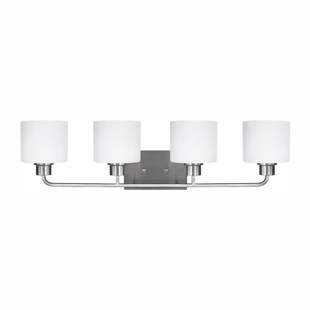 Sea Gull Lighting Canfield 4-Light Brushed Nickel Bath Light with LED Bulbs