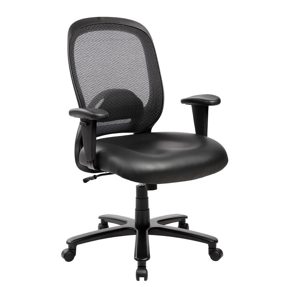 Techni Mobili Black Comfortable Big and Tall Height Adjustable Office Computer Chair