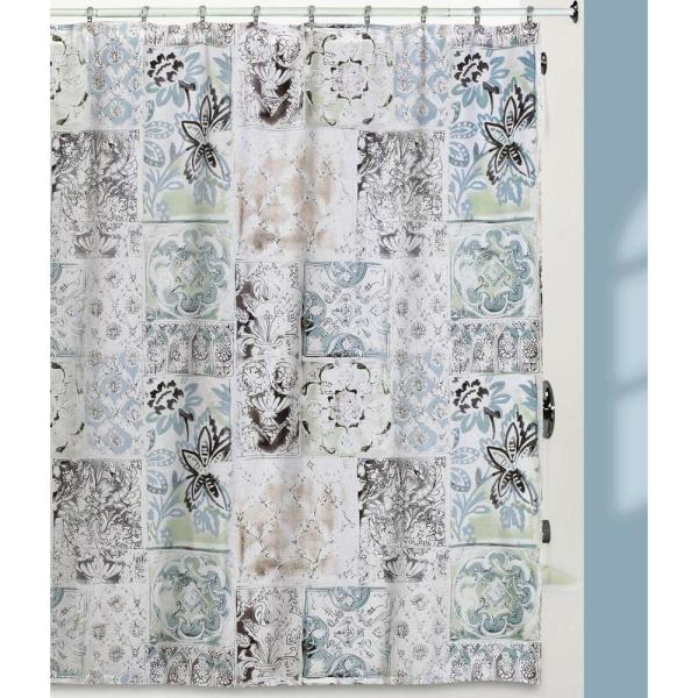 Creative Bath Veneto Color Blocks Pattern Cotton Shower Curtain