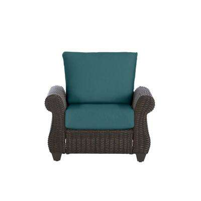 Mill Valley Brown Wicker Outdoor Patio Lounge Chair with CushionGuard Charleston Blue-Green Cushions