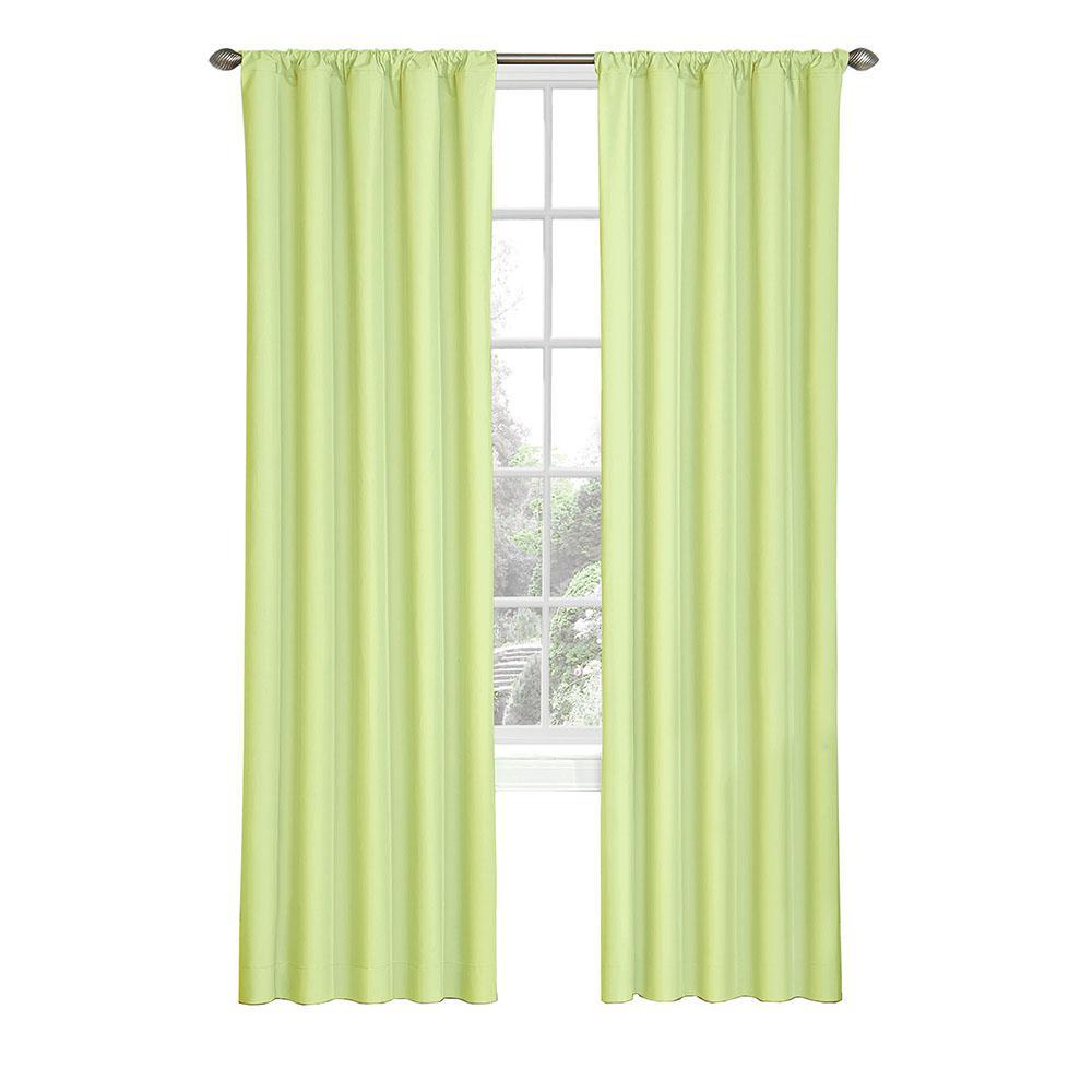Kids Microfiber Blackout Window Curtain Panel in Green - 42 in. W x 84 in. L