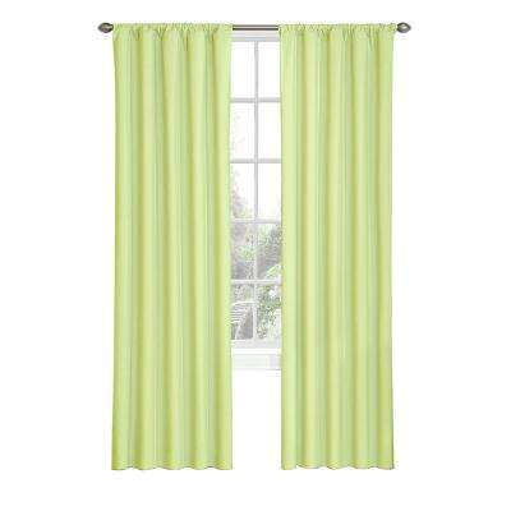 Kids Microfiber Blackout Window Curtain Panel in Green - 42 in. W x 63 in. L