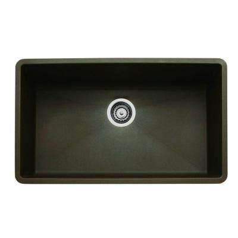 Precis Undermount Granite Composite 32 in. 0-Hole Super Single Bowl Kitchen Sink in Cafe Brown