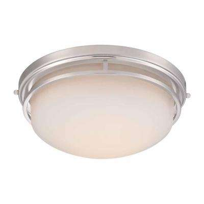 15 in. Satin Nickel LED Flushmount with Frosted Glass