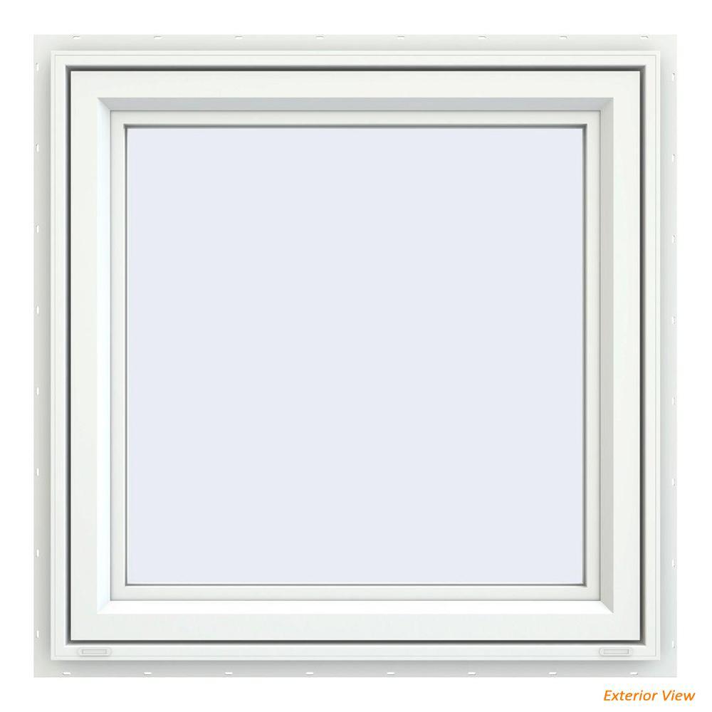 35.5 in. x 35.5 in. V-4500 Series White Vinyl Left-Handed Casement Window with Fiberglass Mesh Screen