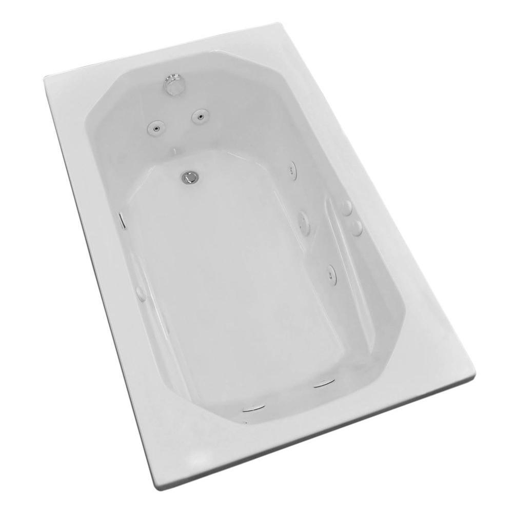 Onyx 5 ft. Rectangular Drop-in Whirlpool Bathtub in White