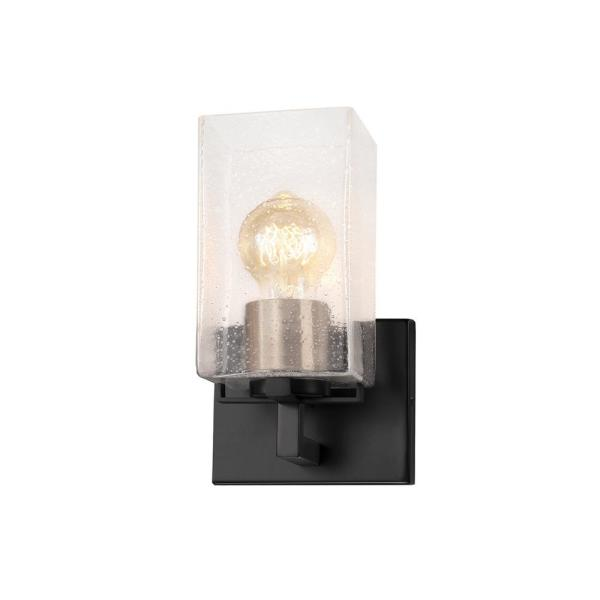 Fusion Vice 5.5 in. Matte Black with Brass Socket Cover LED Wall Sconce and Seeded Glass Shade