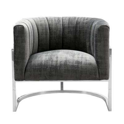 Magnolia Grey Chair with Silver Base