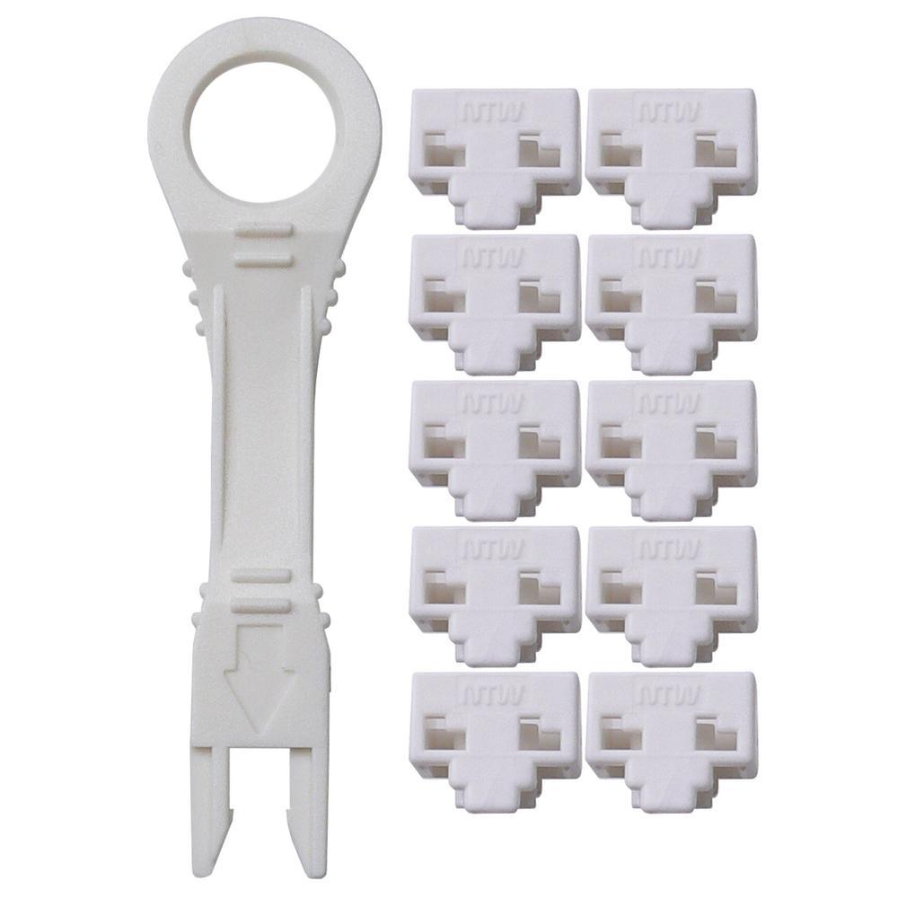 net-Lock Locking RJ45 Port/Dust Blocker with Color Coded Keys, White (10 + 1 Key)