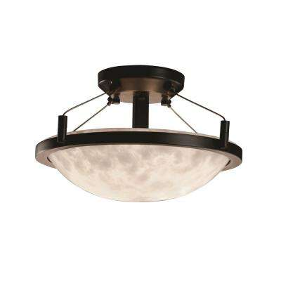 Clouds Ring 16 in. 2-Light Dark Bronze Semi-Flush Mount with Clouds Shade