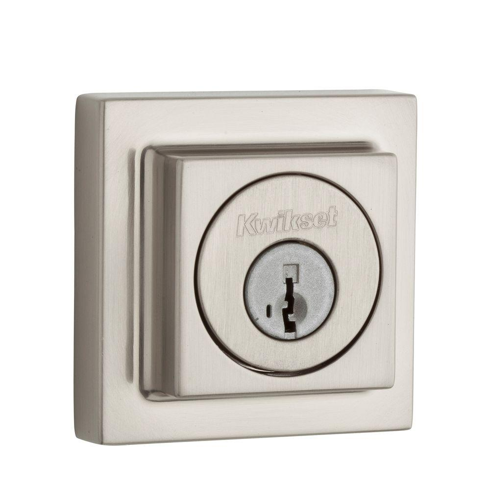 Kwikset 993 Series Square Contemporary Satin Nickel Single Cylinder Deadbolt Featuring SmartKey Security