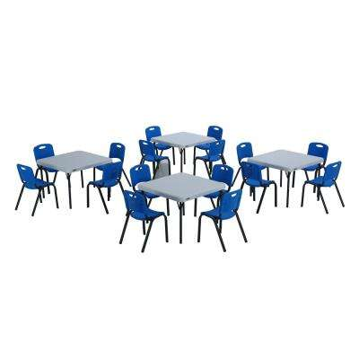 20-Piece Blue and White Children's Tables and Chairs Set