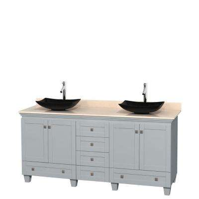 Acclaim 72 in. W x 22 in. D Vanity in Oyster Gray with Marble Vanity Top in Ivory with Black Basins