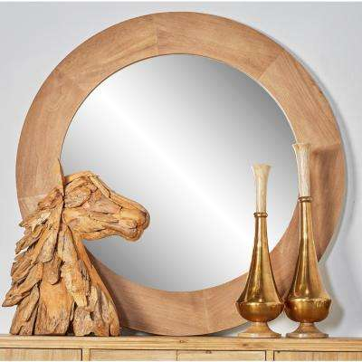 Round Natural Brown Dresser Wall Mirror