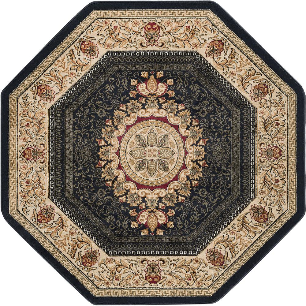 Tayse Rugs Sensation Black 5 Ft Traditional Octagon Area Rug