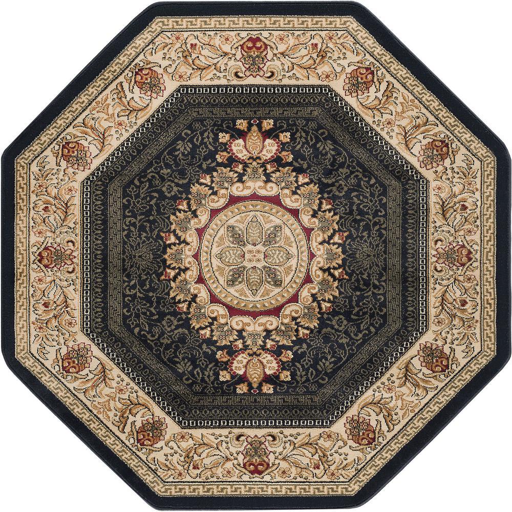 Tayse Rugs Sensation Black 5 Ft Traditional Octagon Area