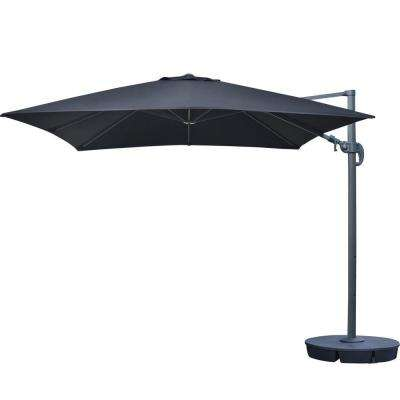 Santorini II 10 ft. Square Cantilever Patio Umbrella in Black Sunbrella Acrylic